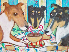 Smooth Collie Party Folk Art Print 5 x 7 Dog Collectible by Artist Ksams