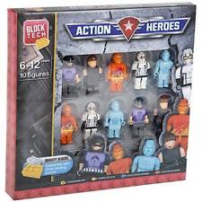 PACK OF TEN 10 BLOCK TECH ACTION SUPER HERO CHARACTER MINI FIGURE SET 28-2837