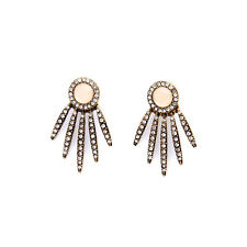 2 PCS Rhinestone Pave Stud Earrings Leaf Drop Ear Jacket Opal Vintage Gold Fan