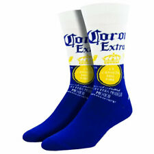 Socksmith Men's Crew Socks Corona Extra Lager Beer Blue Novelty Footwear Apparel