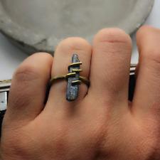 Raw Blue Kyanite Gemstone Ring Size 7 Stick Bullet Chunk Rock Spike Gold Band