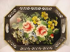Vtg Shabby BLACK Hand painted Floral PINK ROSES Chic Reticulated TOLE Tray 18x13