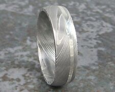 Damascus Steel White Gold Ring Wedding Band Titanium Custom Made to ANY SIzing