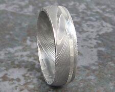 Damascus Steel White Gold Ring Set Wedding Band Titanium Custom Made