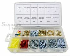 New 600 Pc Fastener Picture Wall Hanging Hooks Nail Wire Kit