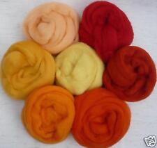 "1/2 oz each  7 colors Sunrise-Sunset orange red wool roving ~25"" felt soap wet"