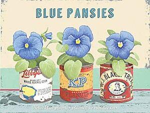 Blue Pansies Small metal sign 200mm x 150mm (og)