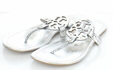 20-13 $198 Women's Sz 13 M Tory Burch Miller Embossed Leather Logo Flat Sandals