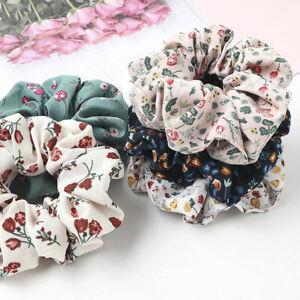 Floral Printed Chiffon Scrunchies Hair Ties Elastic Hair Ring Hair Accessories