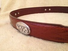 MOJO Snake Skin Brown Leather Belt Size 40 Rodeo Buckle Cowboy Concho Logo 40aaa