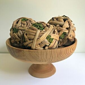Rustic Wood Pedestal Bowl + 3 Bark/Moss Decorative Balls Farmhouse Decor Cottage