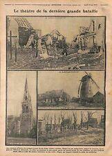 Ruines Gare Eglise Moulin Langemark-Poelkapelle Bataille des Flandres  WWI 1915