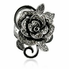 Retro Flower Ring Women 925 Silver Filled Cocktail Party Rings Crystal Size 6-10