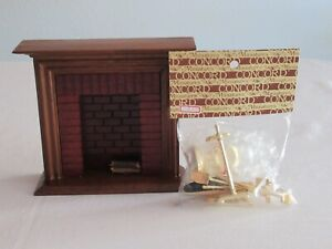 Vintage Dollhouse Fireplace + Concord Accessories Tools Bellows Logs Poker Broom