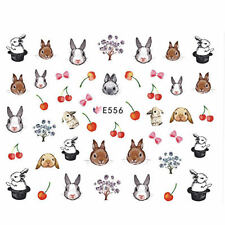 EASTER Bunny Rabbit Cherry Cake Flowers 3D Nail Art Stickers Decals Gel Polish
