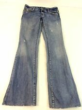 AMERICAN EAGLE WOMENS MED WASH DISTRESSED BLUE DENIM LOW BOOT CUT JEANS SIZE 0