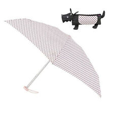 Totes Compact Round Small Folding Spotty Umbrella in 3D Scottie Dog Case