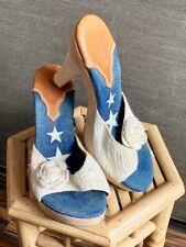 50s 40s pinup retro wood mules  platform heels 39 UK 6 Handknit country