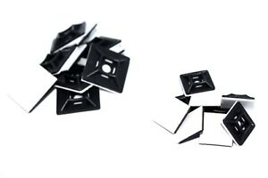 Black Cable Tie Self Adhesive Bases Cradles Anchors 19mm 28mm Sticky Back