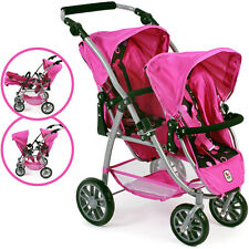 Bayer Chic 2000 Zwillingspuppenwagen Tandem-Buggy Vario (Pinky Balls)