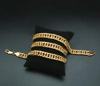 Gold Kette 60cm lang 8mm dick Panzerkette Edelstahl vergoldet für Damen Herren