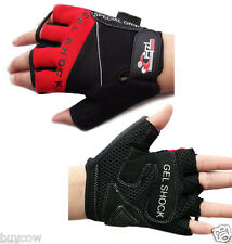 CHZL Mens Stretchable Soft Fingerless Fitness  Gel GLOVES Sports Bike RED - M