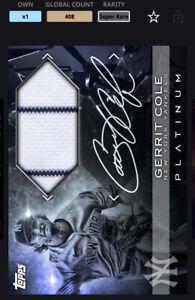 Topps MLB Bunt DIGITAL Platinum Team Colour Sig Relic Super Rare Gerrit Cole