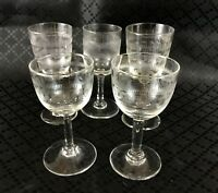 Vintage Sherry Glasses Stem Glass Set Etched Greek Key Mid Century Modern