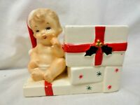 Vintage INARCO Japan Baby Christmas Shopper Planter Holly Berry Candy Holder