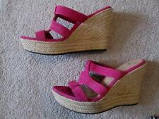 UGG TAWNIE Raspberry Pink Fuchsia Suede Leather Jute Wedge Strappy Sandals 11,42