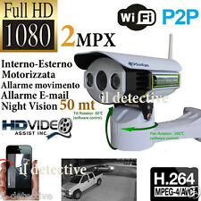 TELECAMERA ESTERNA IP CAMERA HD 1080p WIRELESS LED IR LAN MOTORIZZATA WIFI RETE