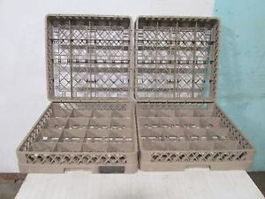 """LOT OF 4 """"RACK MASTER"""" H.D. COMMERCIAL 16 TEA/COFFEE/SOUP CUPS DISHWASHER RACKS"""