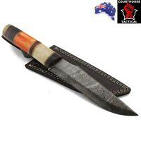 Handmade Bowie Knife, Damascus Blade, Bone & Walnut Wood Handle, Leather Sheath