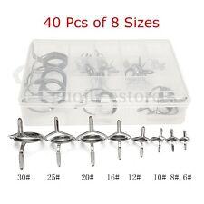 40X 8 Sizes Stainless Steel Guide Tip Top Ring Fishing Eye Rod Kit w/case Repair