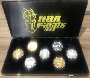 NBA FINALS CHICAGO BULLS 1996 SET (7) .999 SILVER COIN SET IN CASE 1/300 RARE