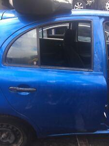 NISSAN MICRA 2013 REAR DRIVER SIDE OFF SIDE DOOR SKY NEON BLUE