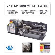 "Mini Metal Lathe 7"" x 14"" 3/4Hp 550W Digital Display Metal Gear Variable Speed"