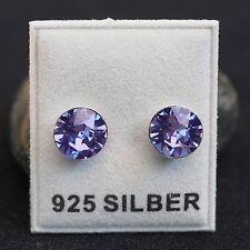 NEU 925 Silber OHRSTECKER 8mm SWAROVSKI STEINE tanzanite/lila OHRRINGE