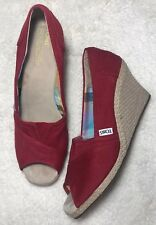 TOMS Peep Toe Stella Wedges Size 10 Red Platform Shoes Womens Espadrilles