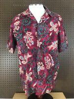 HILO HATTIE Original Vtg Mens Camp Hawaiian Shirt SS Large Tiki Aloha Flower