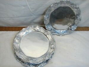 "Set 5 Pewtarex Victorian Ornate Pewter Dinner Plates Dishes 11"" York, PA"