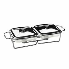 Twin Food Warmer, 1 Ltr Marinex Glass Dishes, Stainless Steel