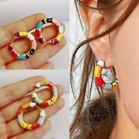 2020 Fashion Colorful Circle Enamel Earrings Hoop Drop Dangle Women Jewelry Gift