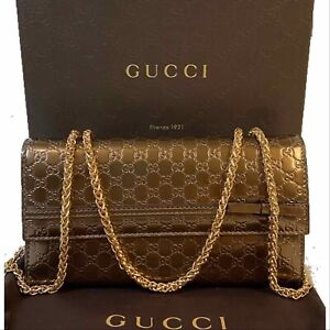 Authentic GUCCI Patent Leather micro GG Wallet/Cross Body~y🇺🇸US SELLER