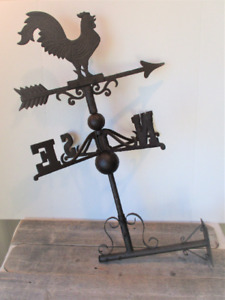 LARGE CAST IRON ROOSTER WEATHERVANE WEATHER VANE FENCE MOUNT GARDEN FARM BARN