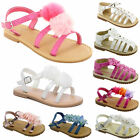 GIRLS CHILDREN RUFFLE FLOWER SUMMER BEACH FLAT SANDALS PARTY PEEP TOE SHOES SIZE