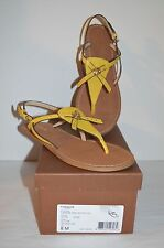 New $135 Coach Camara Semi Matte Calf Leather Sandal Yellow sz 8