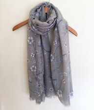 LADIES ELEGANT GREY WHITE BLUE FLORAL FLOWER PRINT SOFT SCARF / WRAP   NEW IN