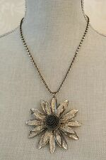 Metallic Pewter Glittery Flower Handmade Statement Necklace with Crystals