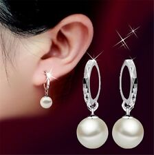 Elegant 925 Sterling Silver Hoop Charm Pearl Drop Dangle Earrings Women Jewelry